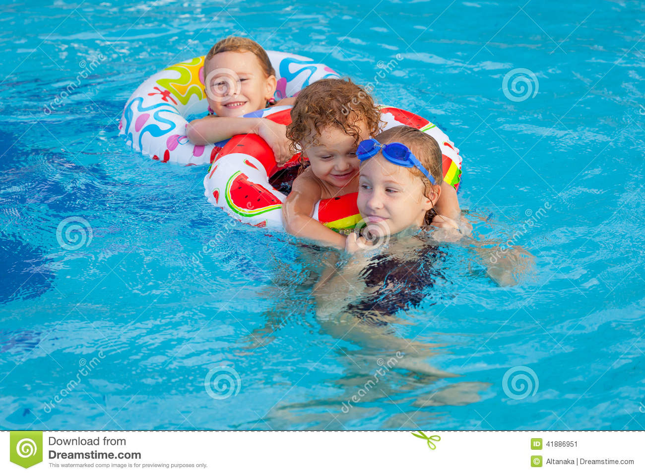 Happy Little Children Playing In The Swimming Pool Stock ...