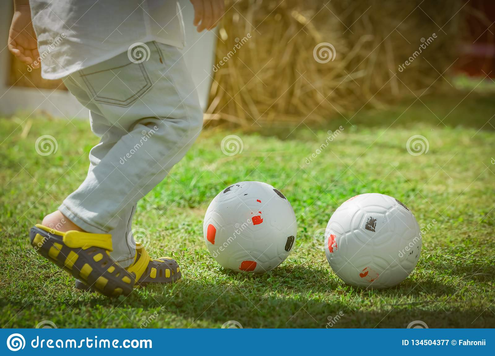 Happy little cute boy playing soccer outside home or school in summer day. Preschool kid play football in green grass lawn. Child