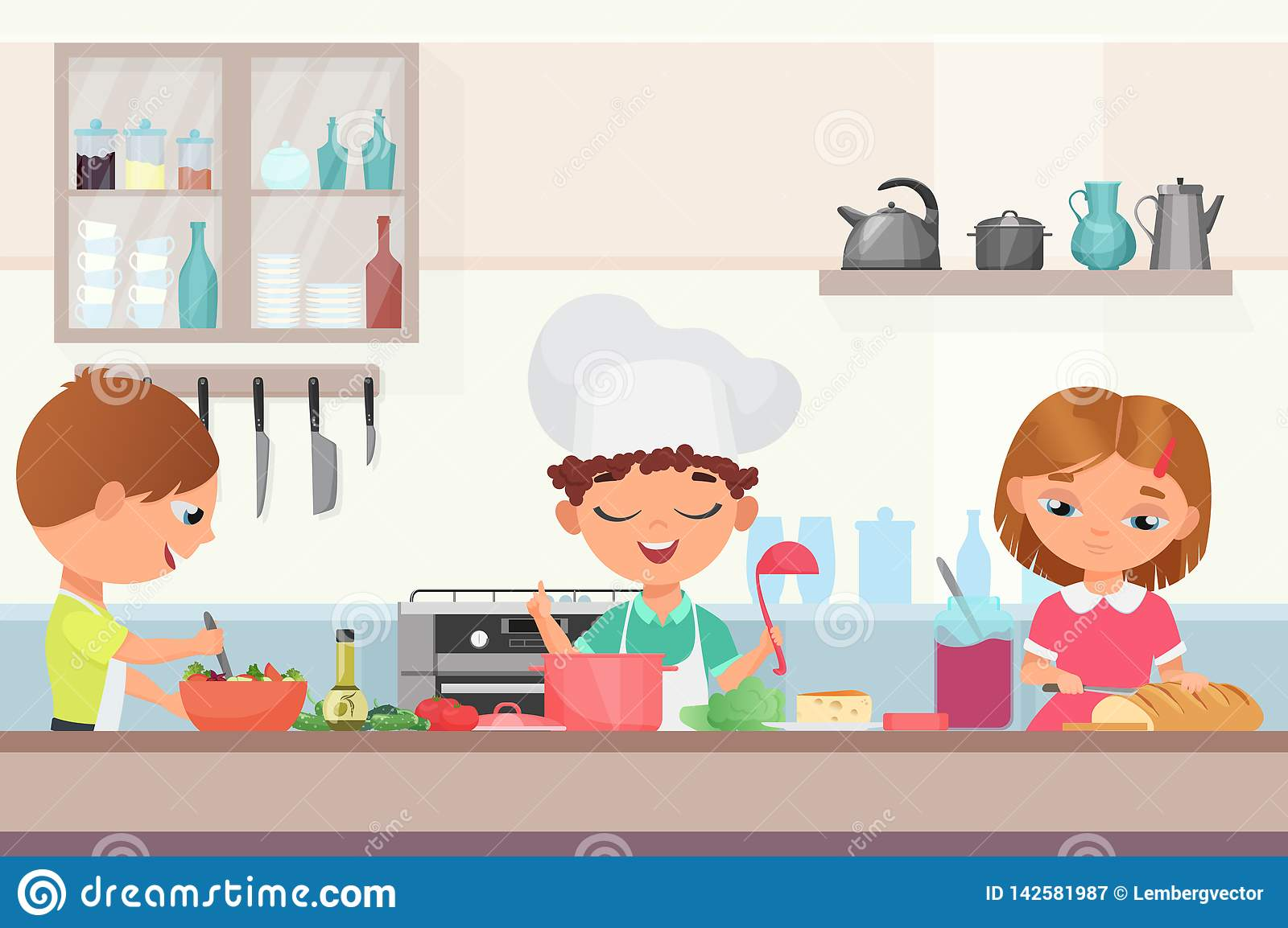 Happy Little Cute Children Kids Cooking Delicious Food In