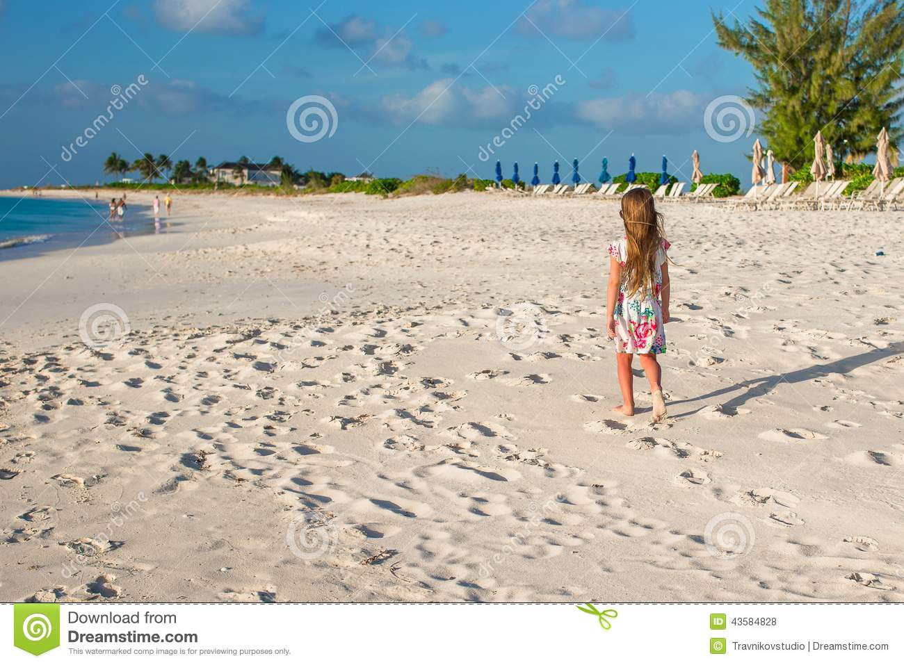During Vacation : Happy Little Girl On Beach During Summer Vacation Stock Photo - Image ...