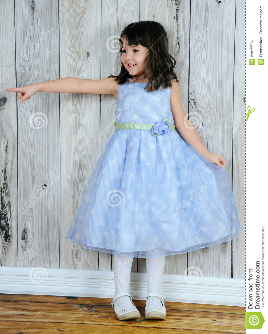 Happy Little Girl In Beautiful Blue Dress Pointing Stock Images ...
