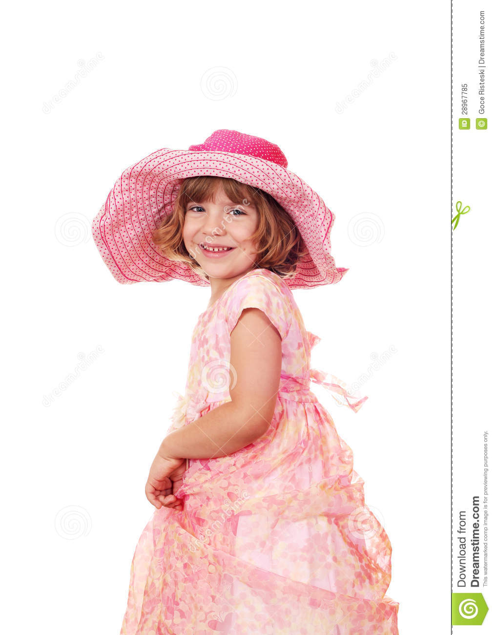 Happy Little Girl With Big Hat Royalty Free Stock Photo ...