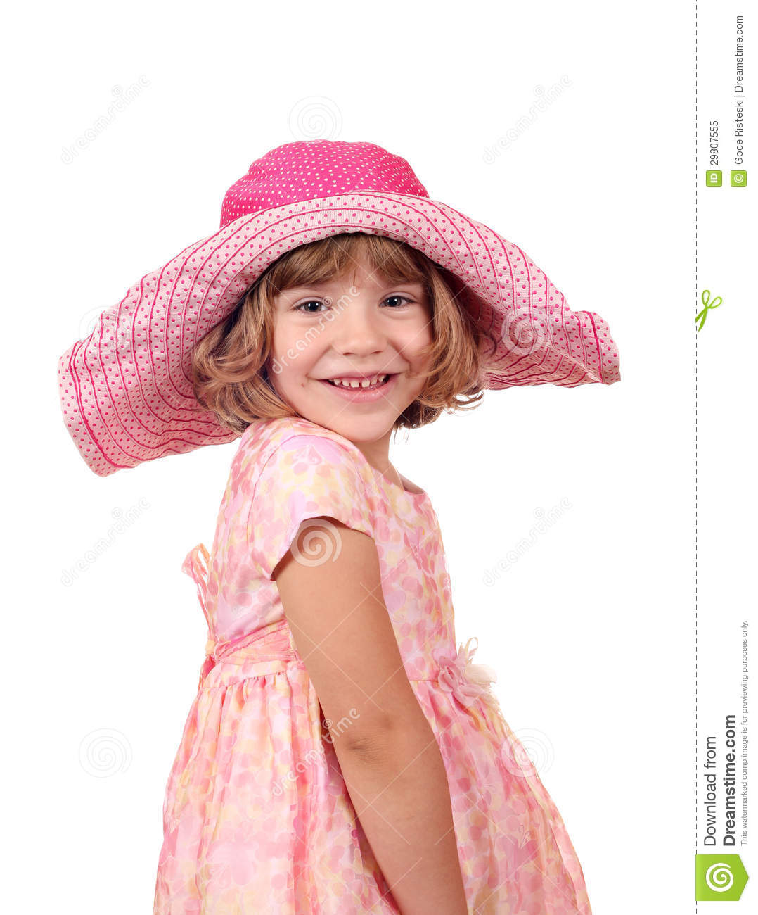 Happy Little Girl With Big Hat And Dress Royalty Free ...
