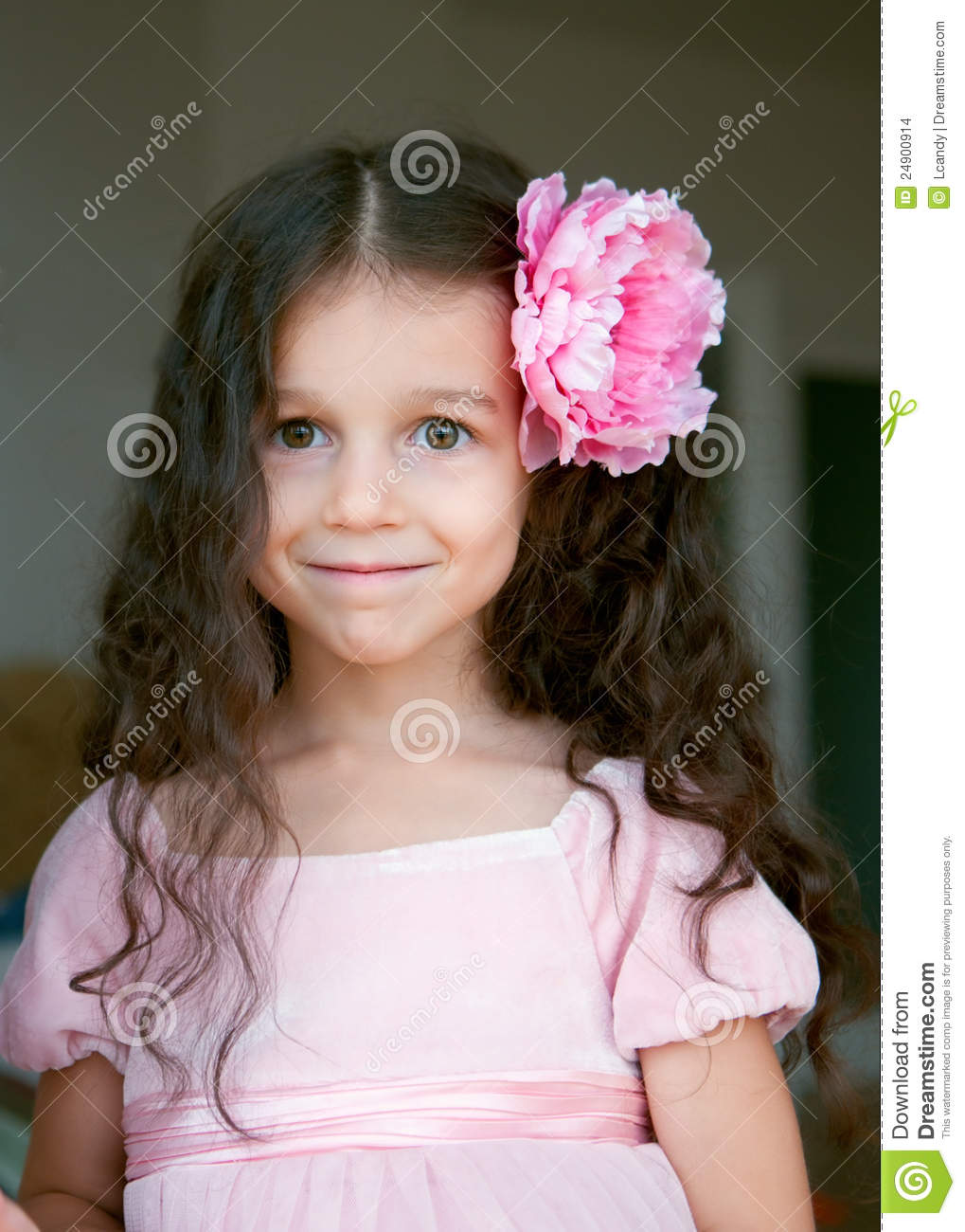 Happy Little Girl With Big Pink Flower In Hair Stock Photo Image