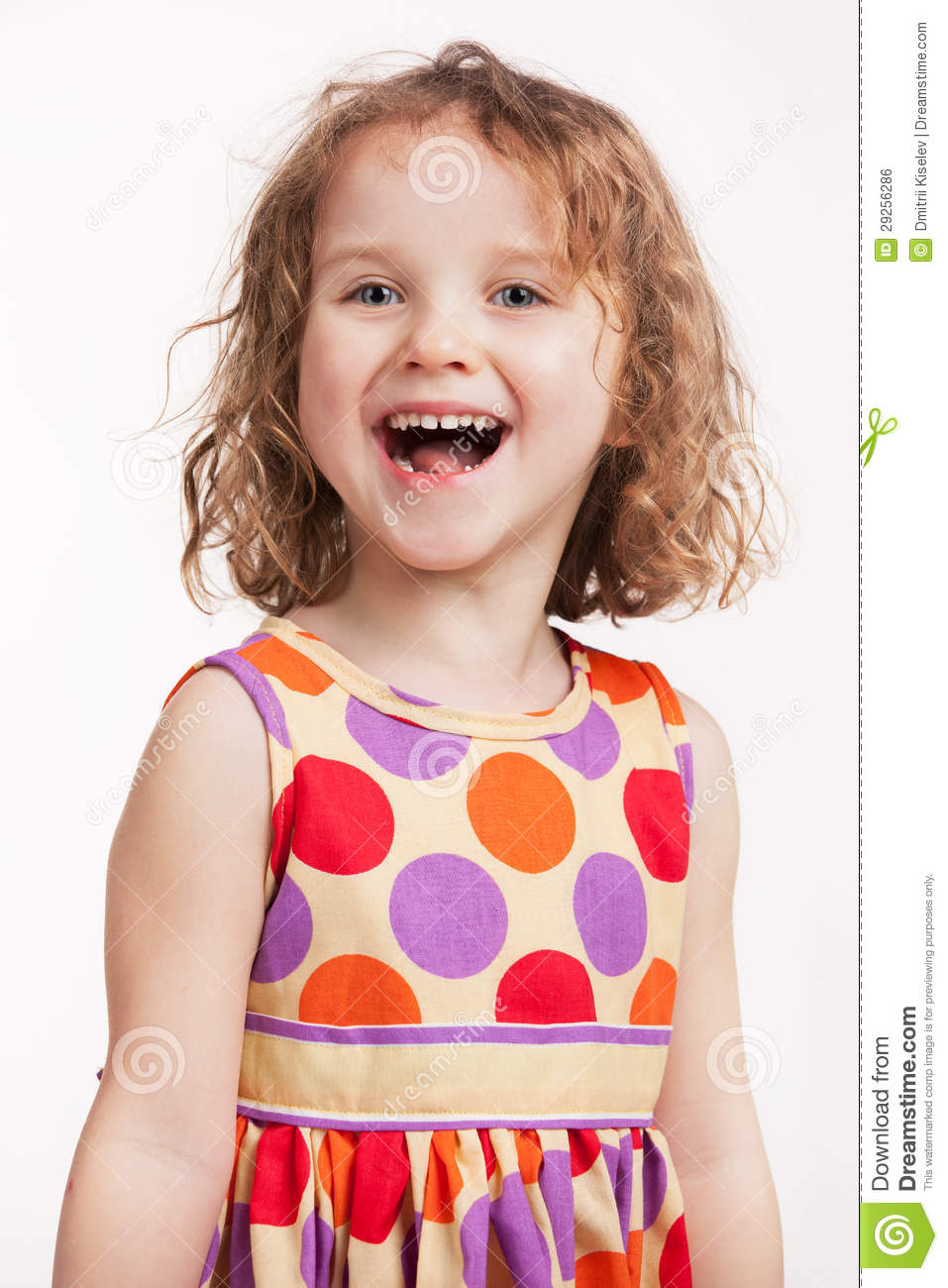 Happy Little Girl In A Bright Dress Royalty Free Stock ...