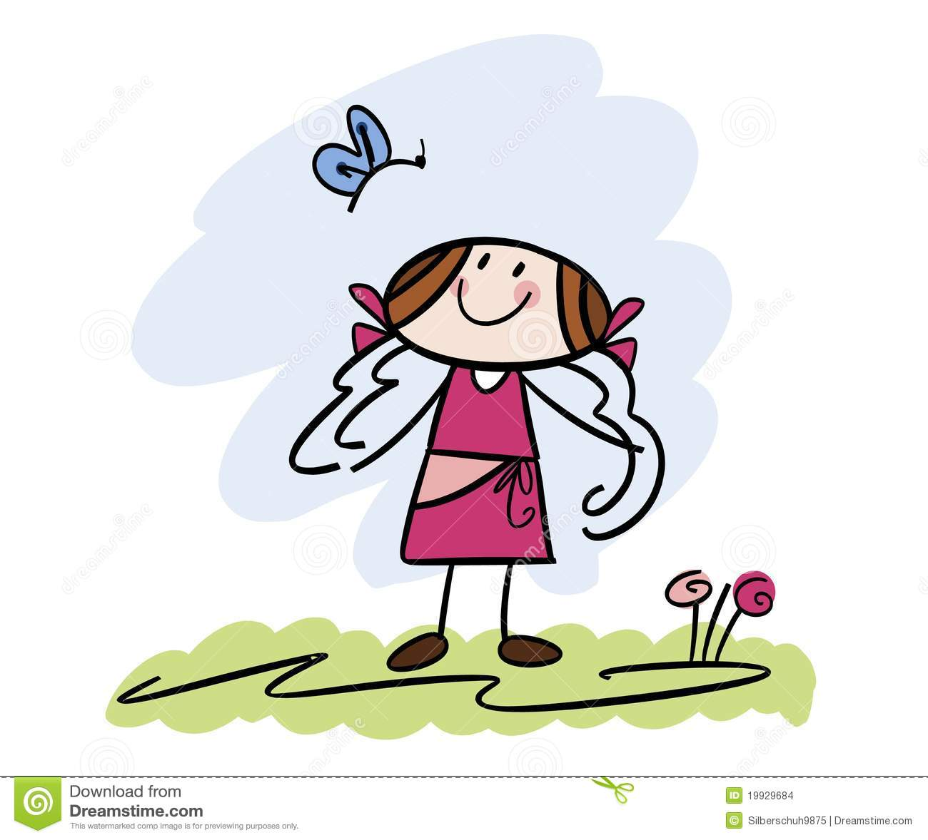 Happy Little Girl With Butterfly Stock Vector - Image ...