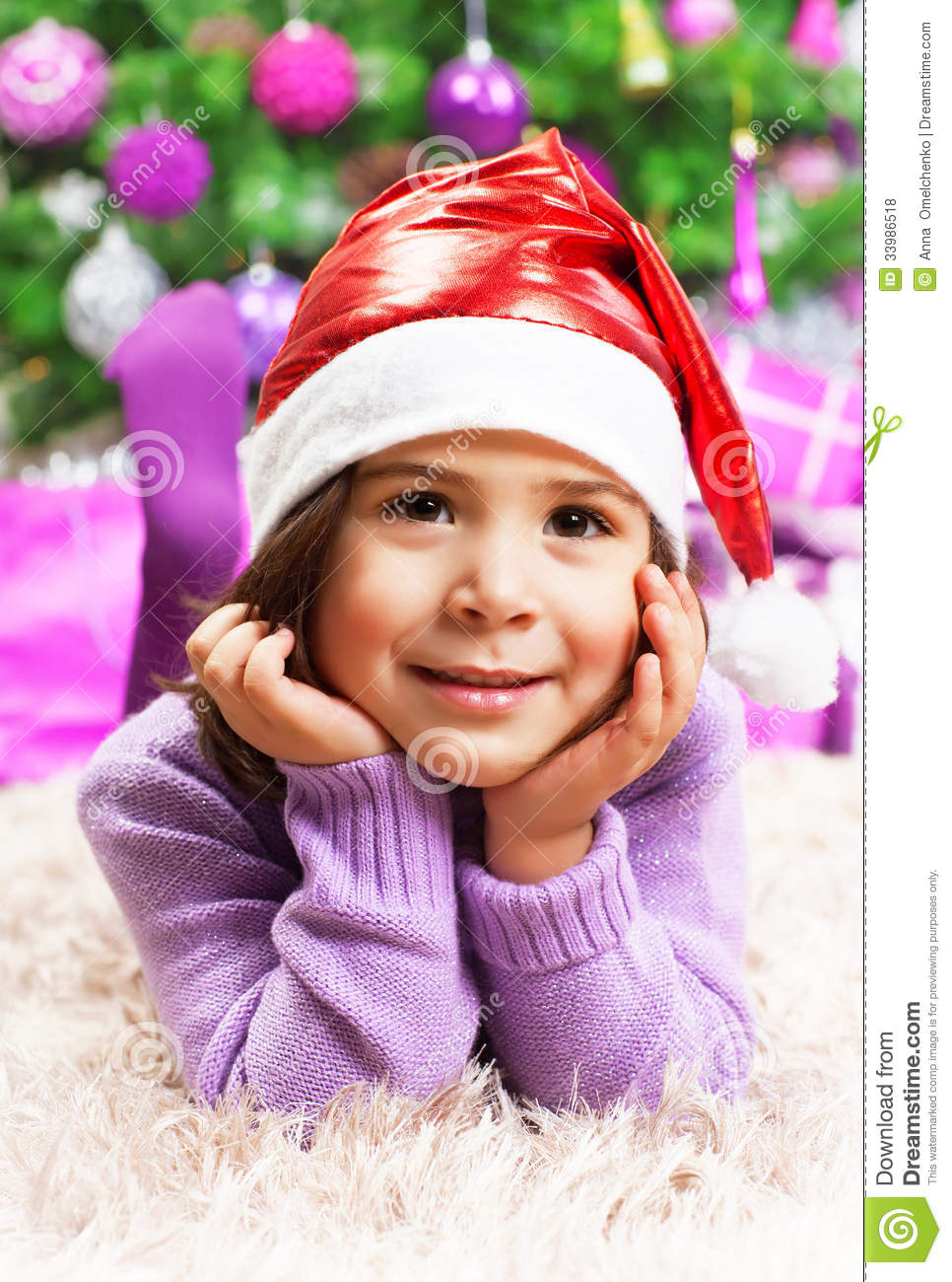 e85350934fc8 Happy Little Girl In Christmas Eve Stock Photo - Image of lovely ...