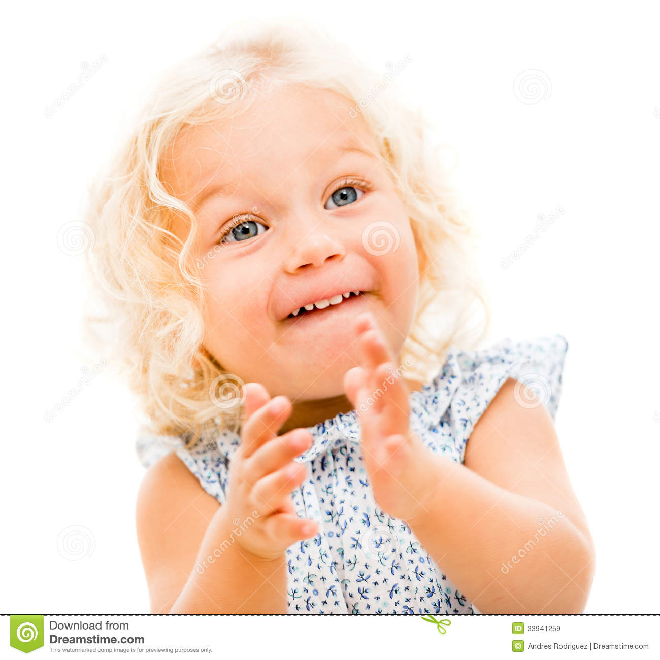 Happy little girl clapping stock image. Image of ...
