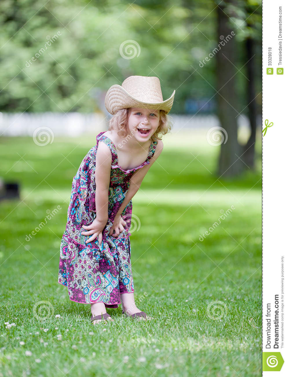 873875f57a219 Happy Little Girl In Cowboy Hat Stock Photo - Image of dress