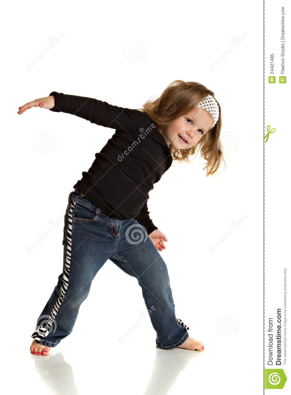 Happy Little Girl Dancing Pose On White Background Stock