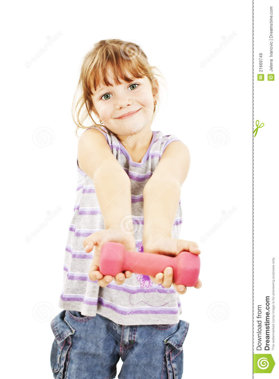 Happy little girl with dumbbell