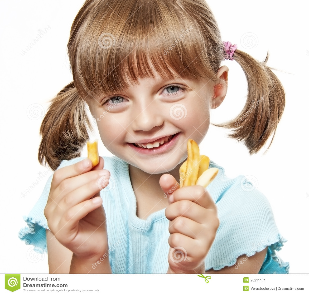 Https Www Dreamstime Com Stock Image Happy Little Girl Eating French Fries Image26211171