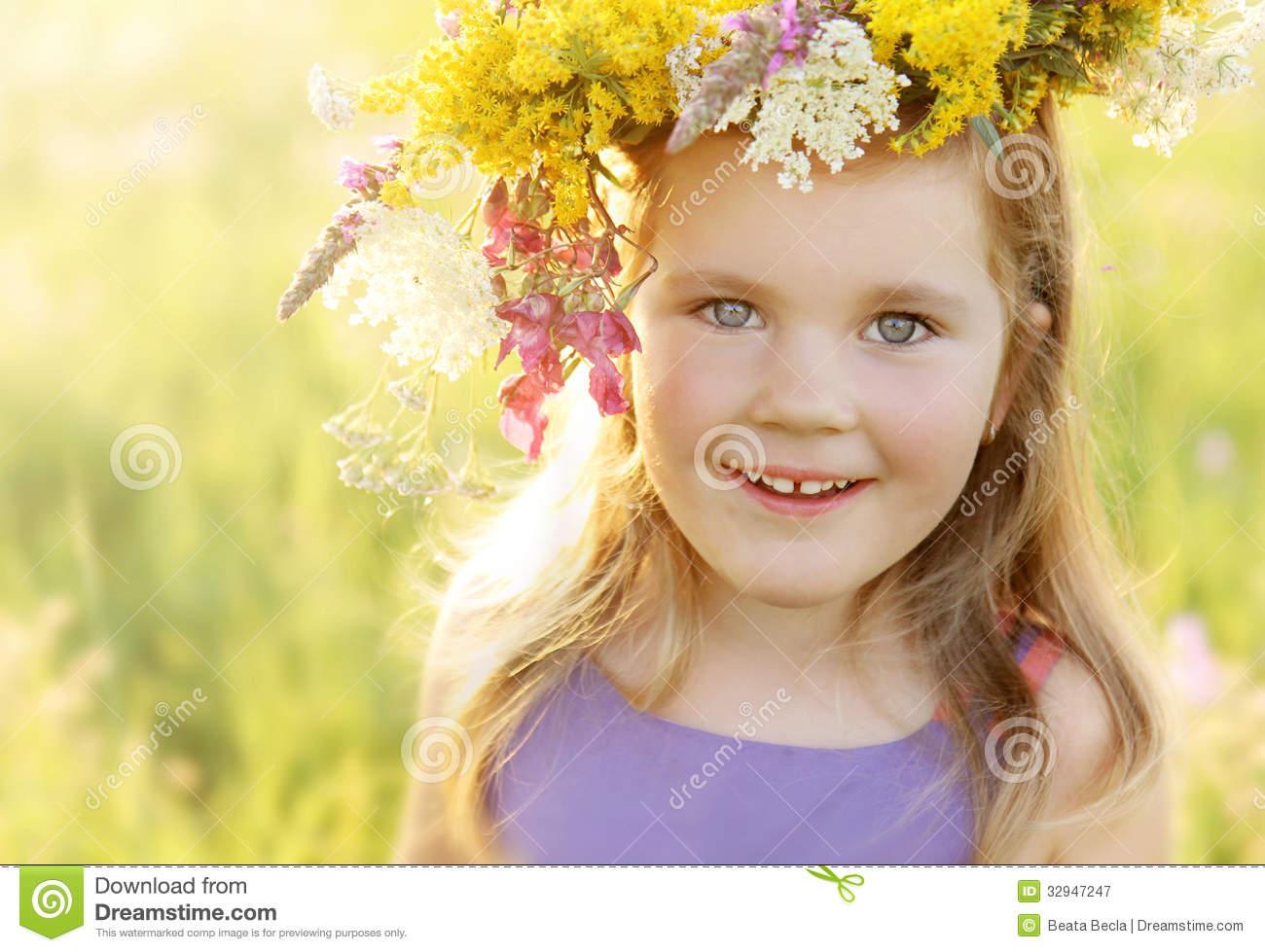 Happy little girl in flower crown on sunny summer meadow stock image happy little girl in flower crown on sunny summer meadow izmirmasajfo Gallery