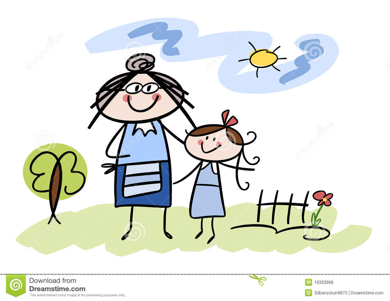 Happy Little Girl With Her Grandmother Royalty Free Stock ...