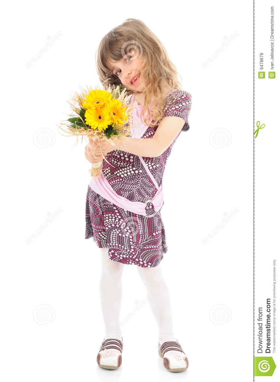 Happy Little Girl Holding Flowers Stock Image - Image: 9478679