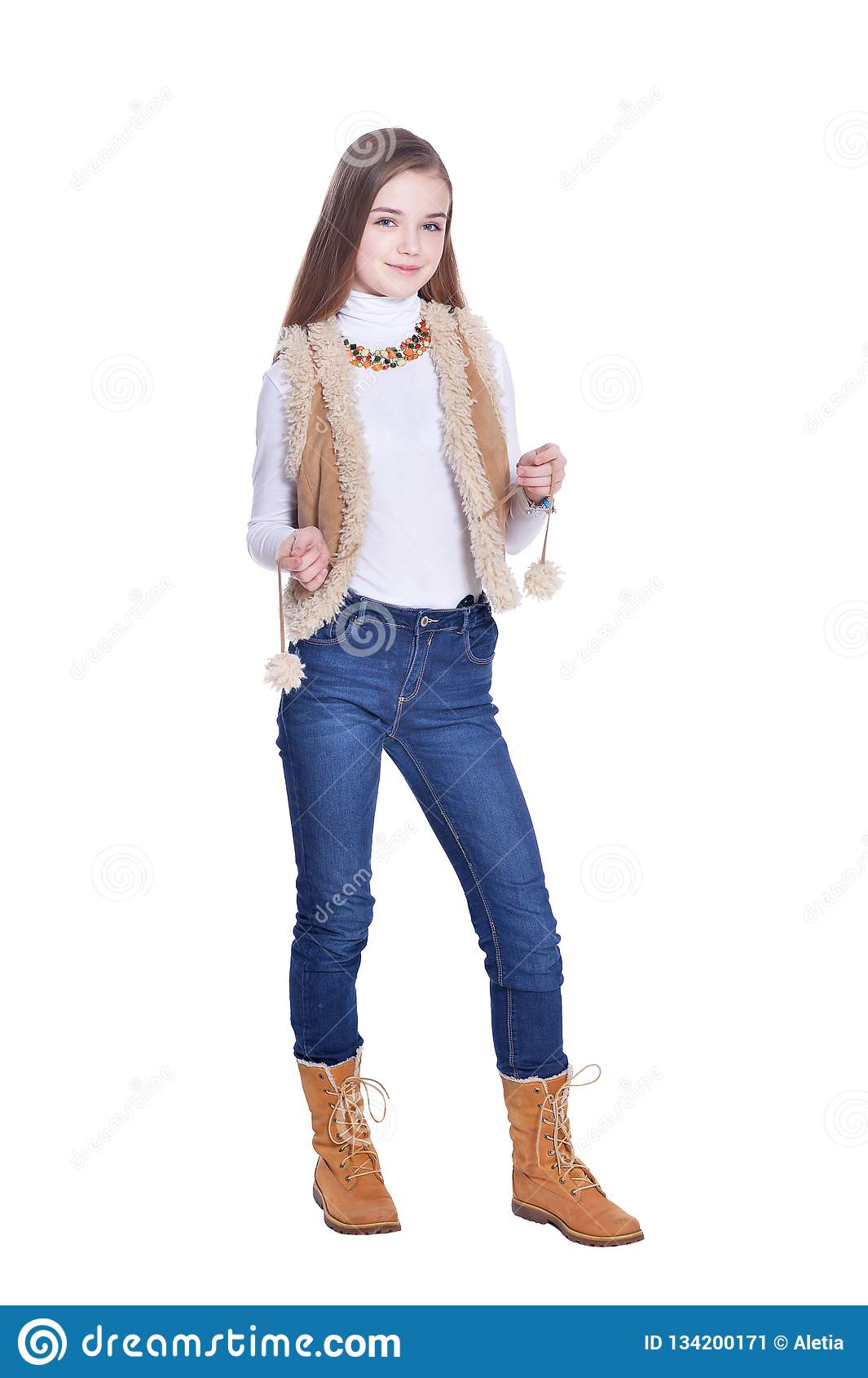 a97e089fd01 Happy Little Girl In Jeans Posing On White Background Stock Image ...