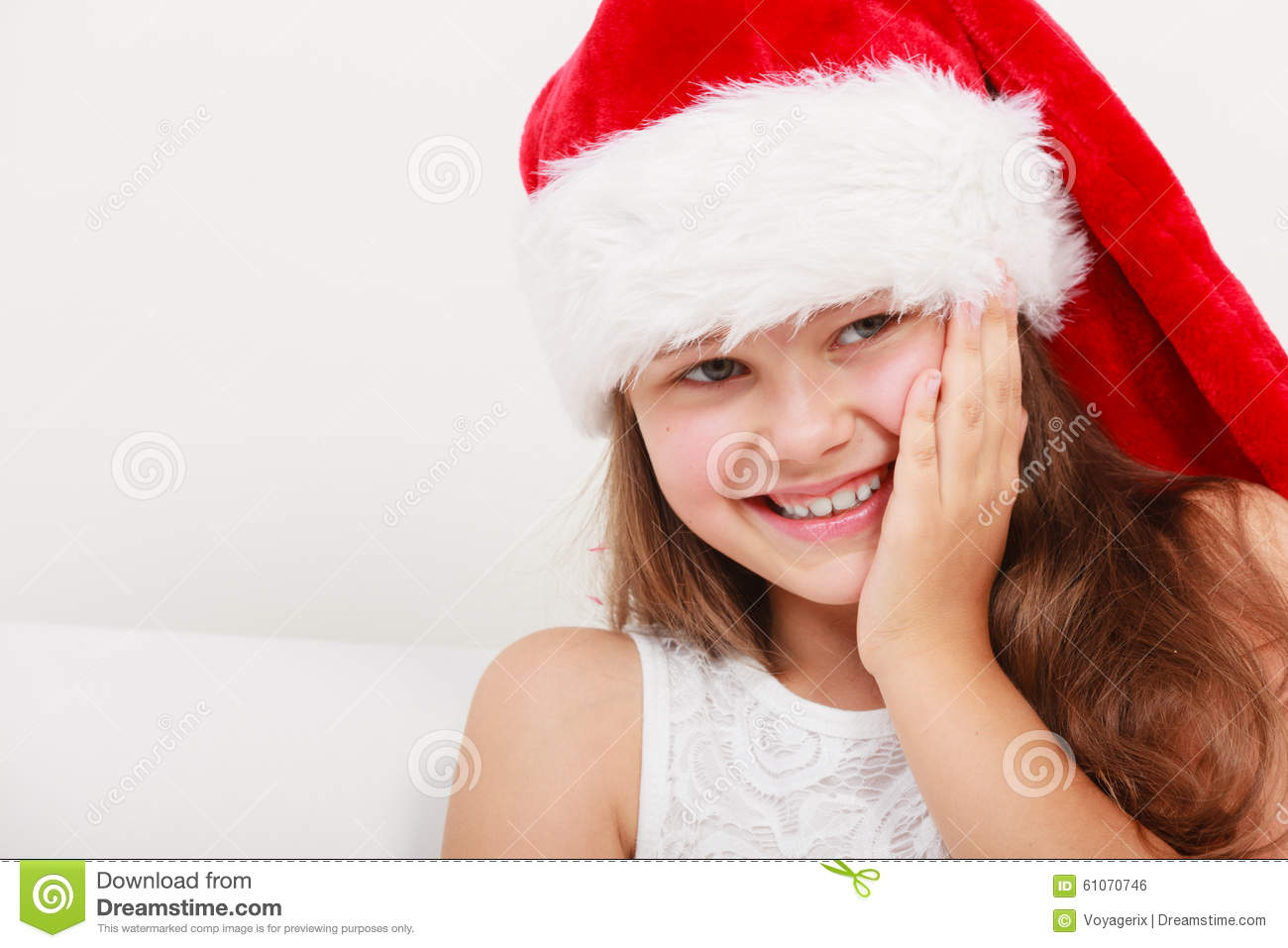 9059ce9a6bae6 Happy Little Girl Kid In Santa Hat. Christmas. Stock Photo - Image ...
