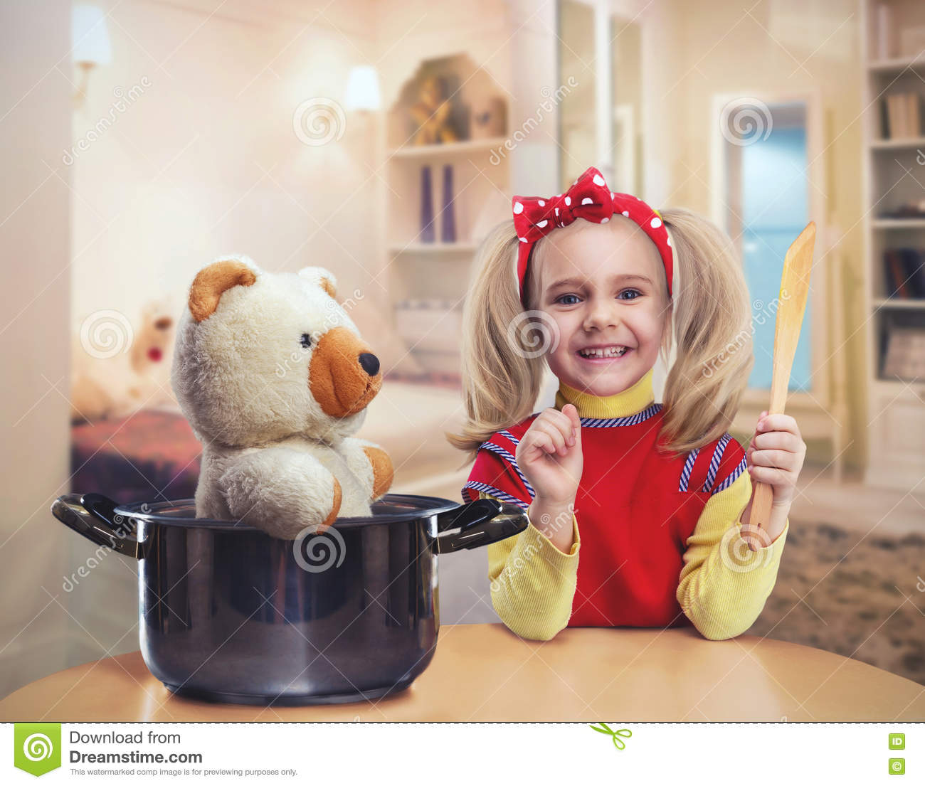 Happy Little Girl In The Kitchen Stock Image