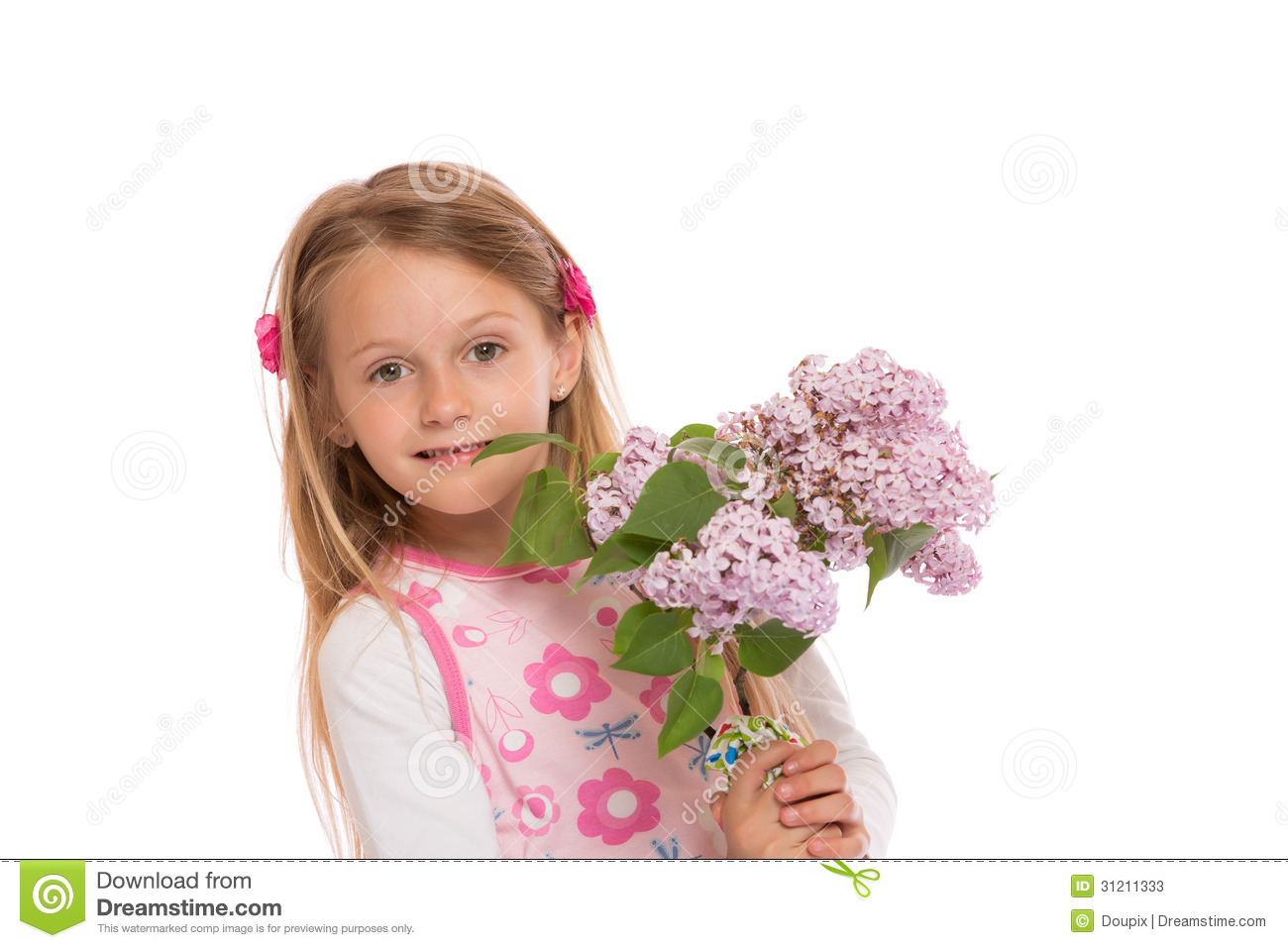 Happy Little Girl With Lilac Flowers Stock Photos - Image ...