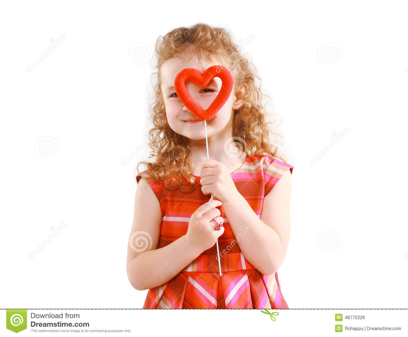 ... day and people concept - happy little girl looking through the heart