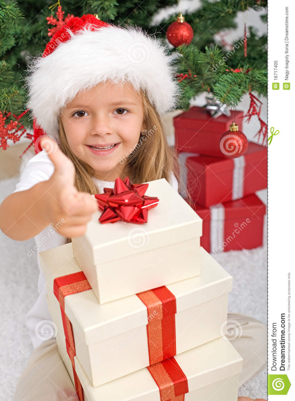 Happy Little Girl With Lots Of Christmas Presents Stock Image ...