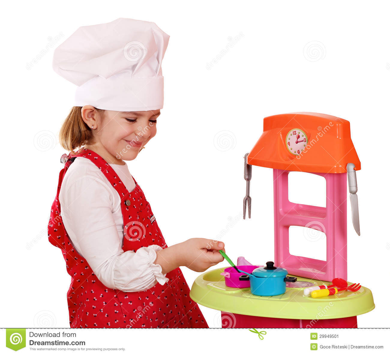 Little Girl Play Cooking Stock Image. Image Of Cute