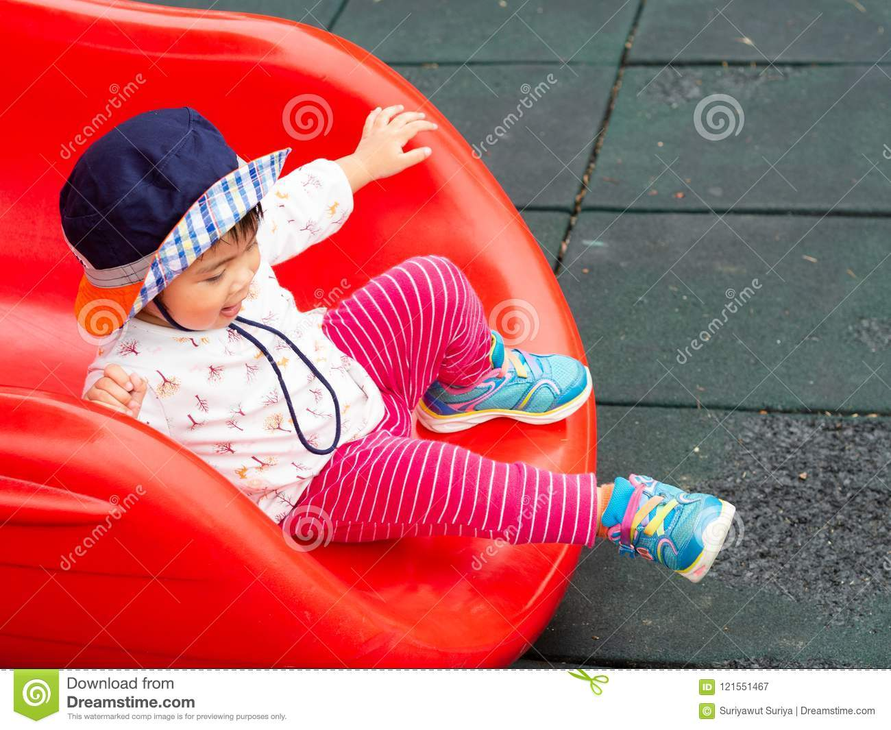Happy little girl playing at the playground. Children, Happy, Fa