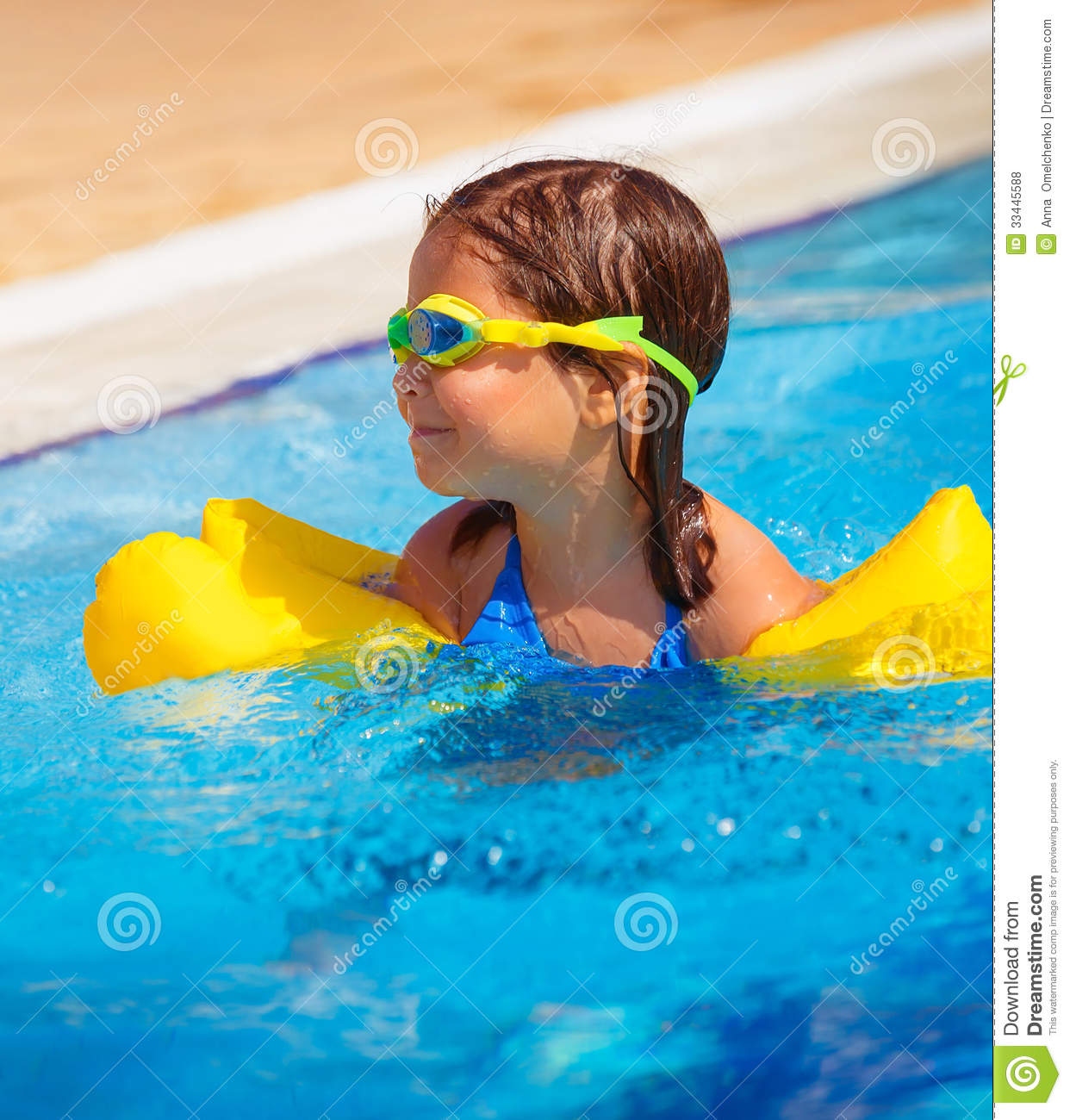 Happy Little Girl In The Pool Royalty Free Stock Photos Image 33445588