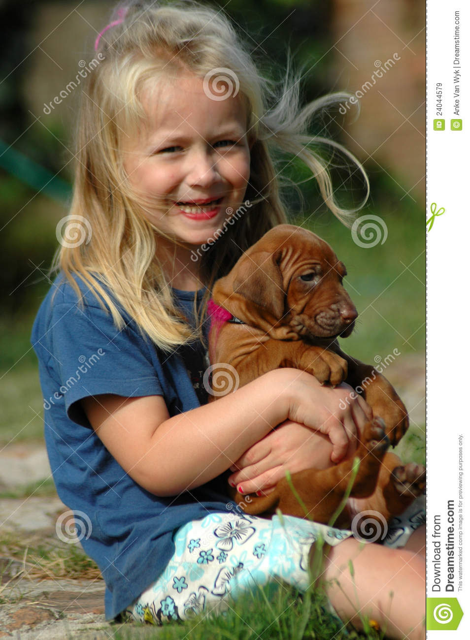 Happy Little Girl With Puppy Stock Image Image 24044579