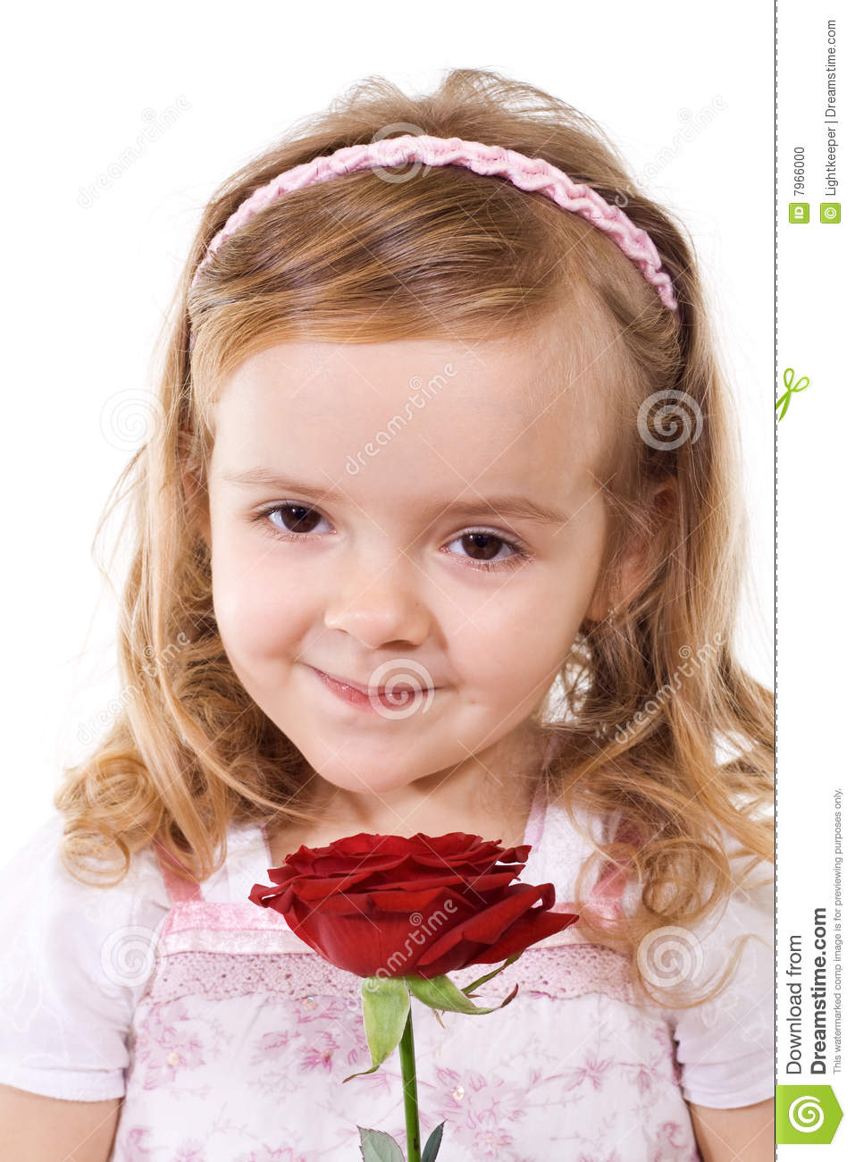 Happy little girl with rose stock photo image 7966000 - Pics of small little girls ...