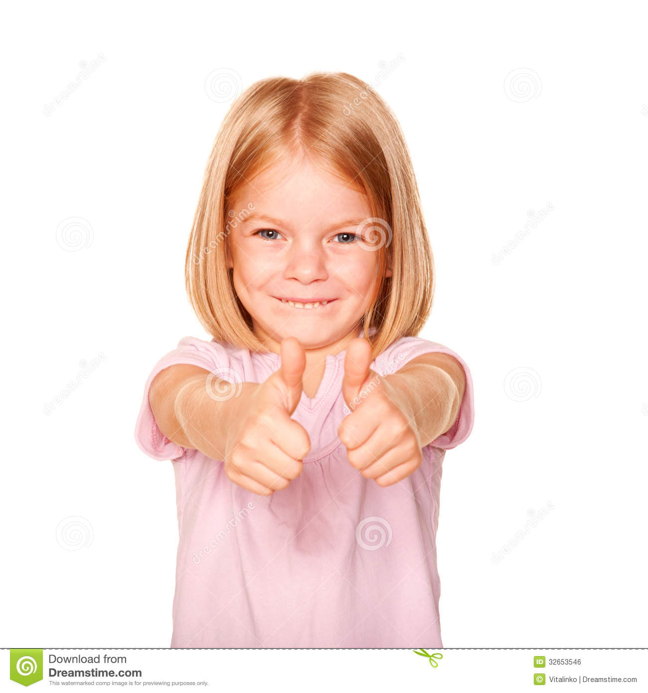 Happy Little Girl Showing A Thumbs Up Sign Royalty Free ...