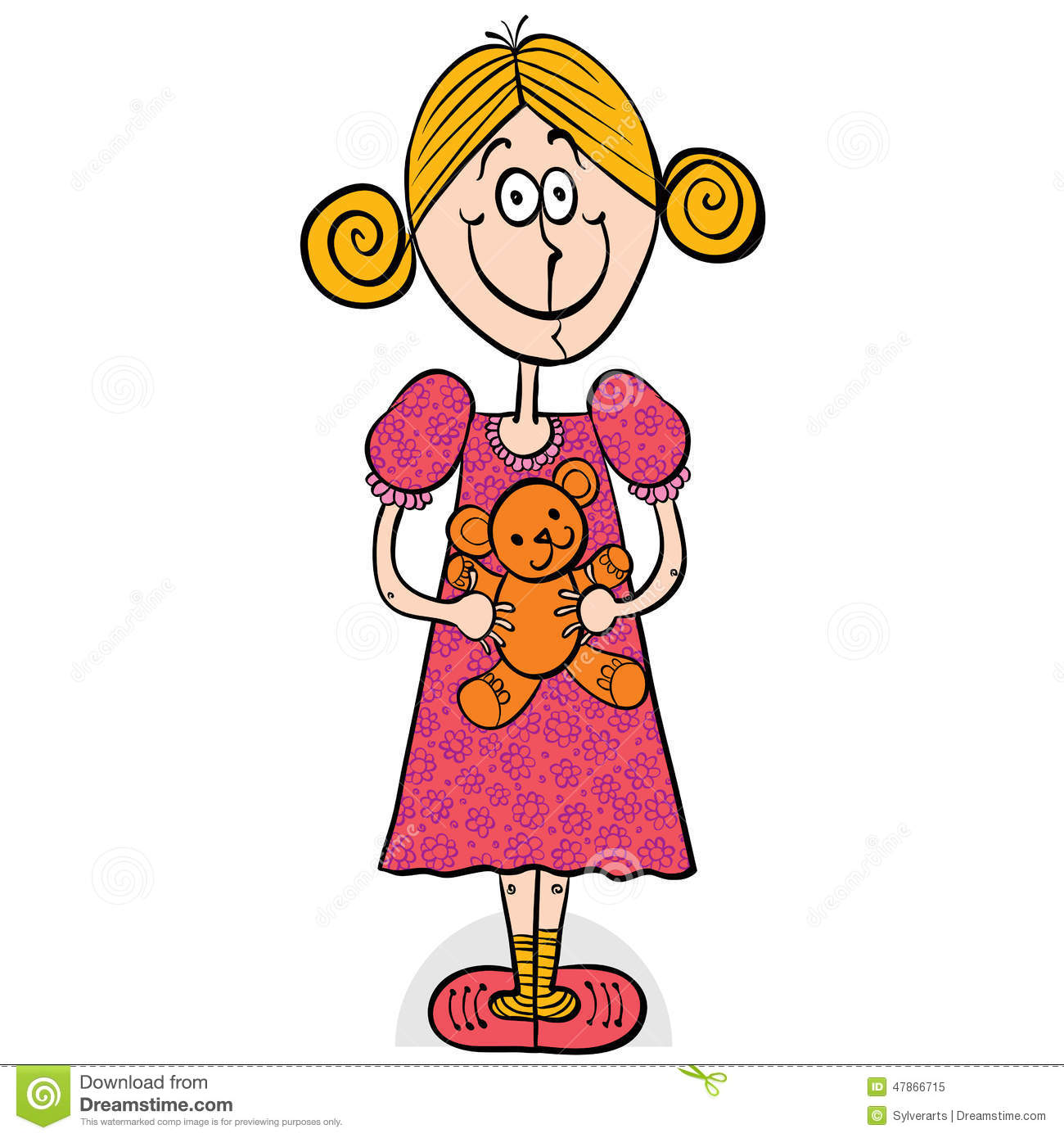 Happy Little Girl Smiling With Teddy Bear. Stock Vector ...