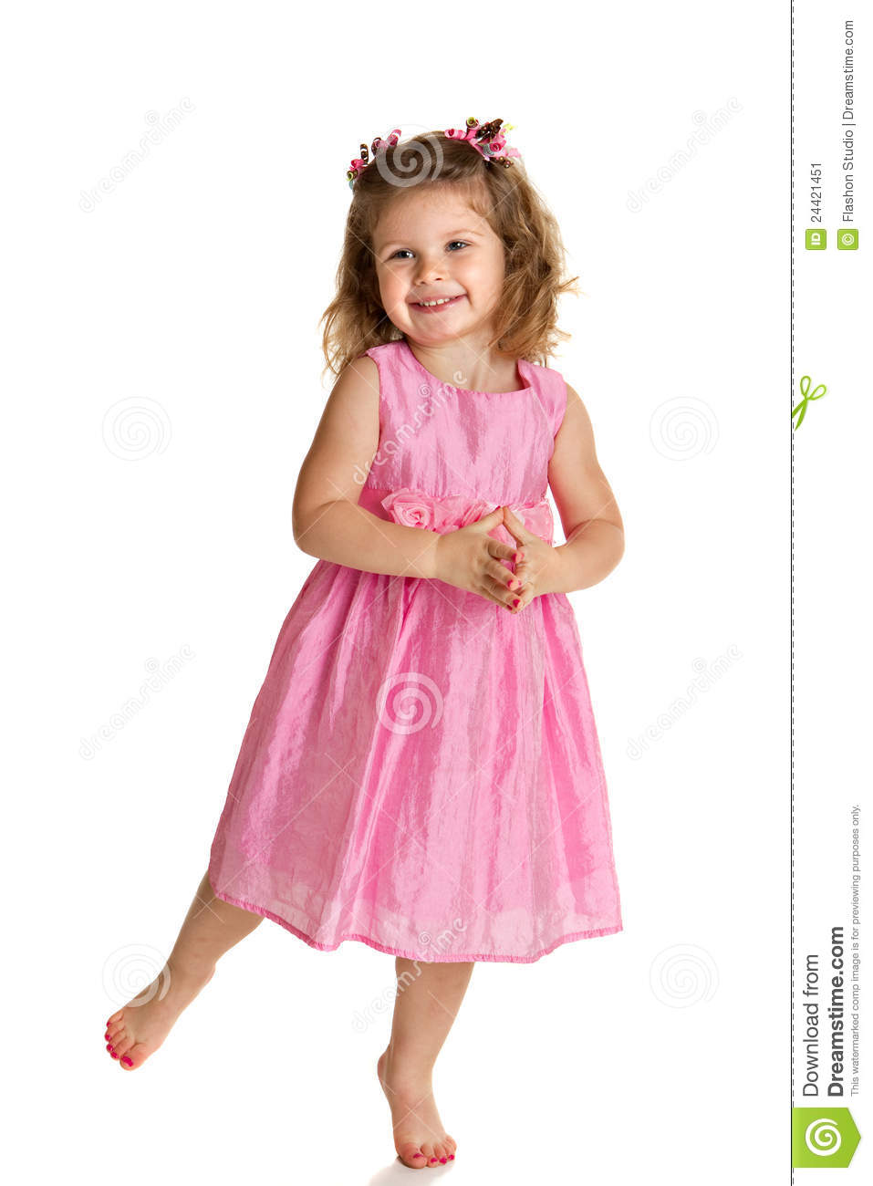 Happy Little Girl Standing On White Background Stock Image - Image ...