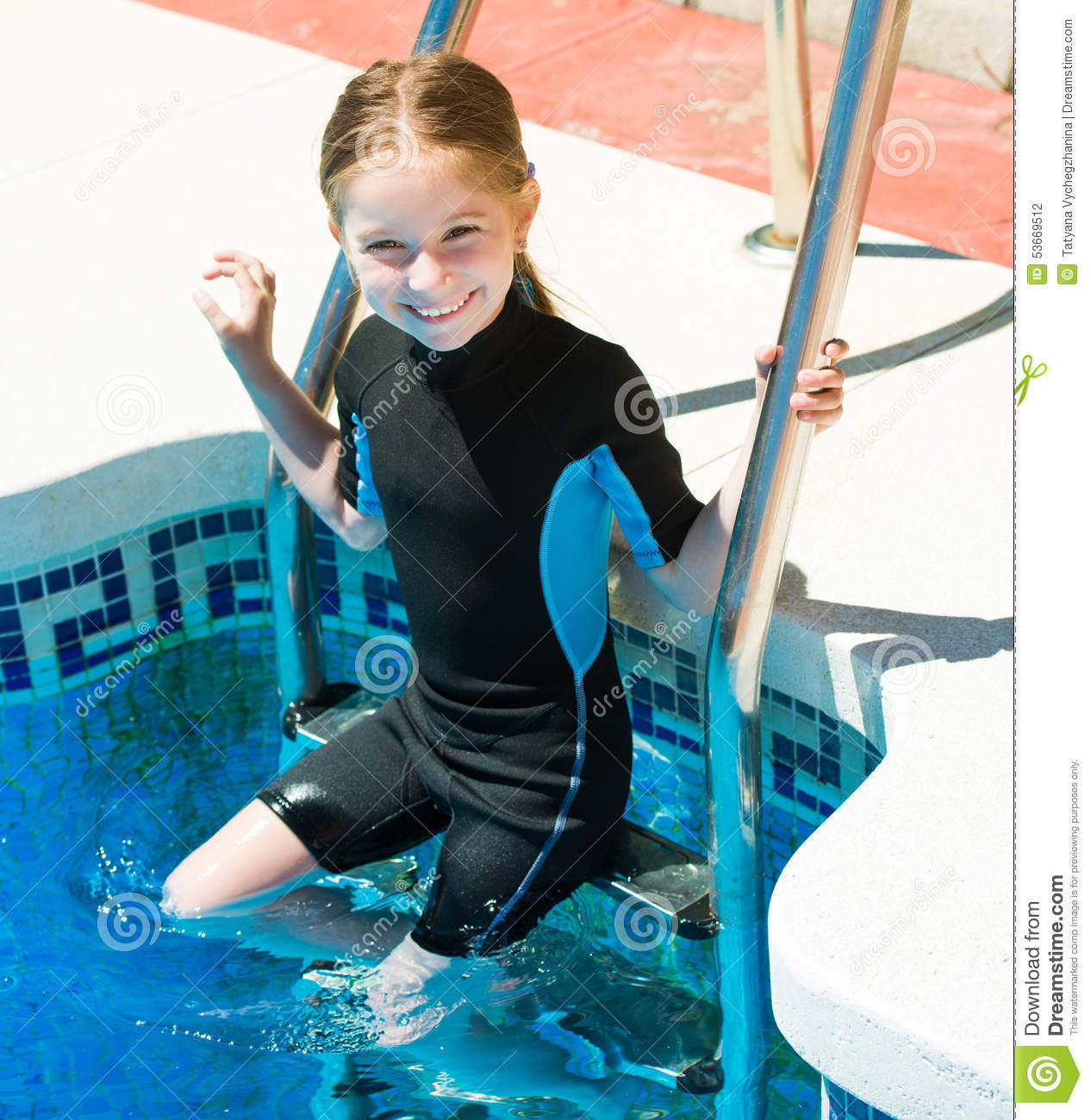 Happy little girl in a wetsuit stock photo image 53669512 Tiny girl teen