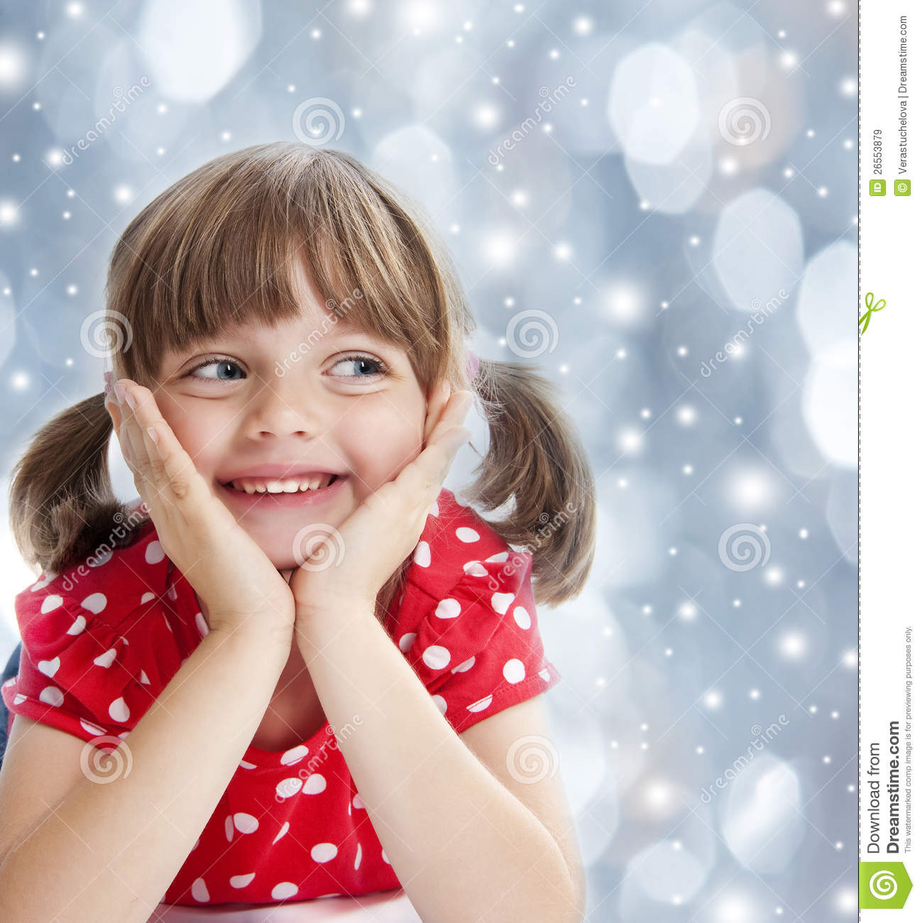 Happy Little Girl At The Winter Time Royalty Free Stock ...