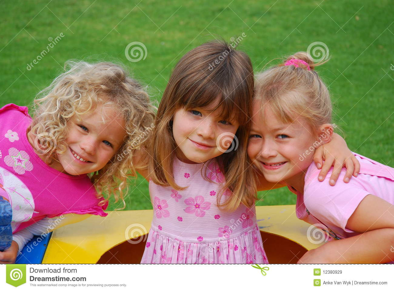 Happy Little Girls Royalty Free Stock Images - Image: 12380929