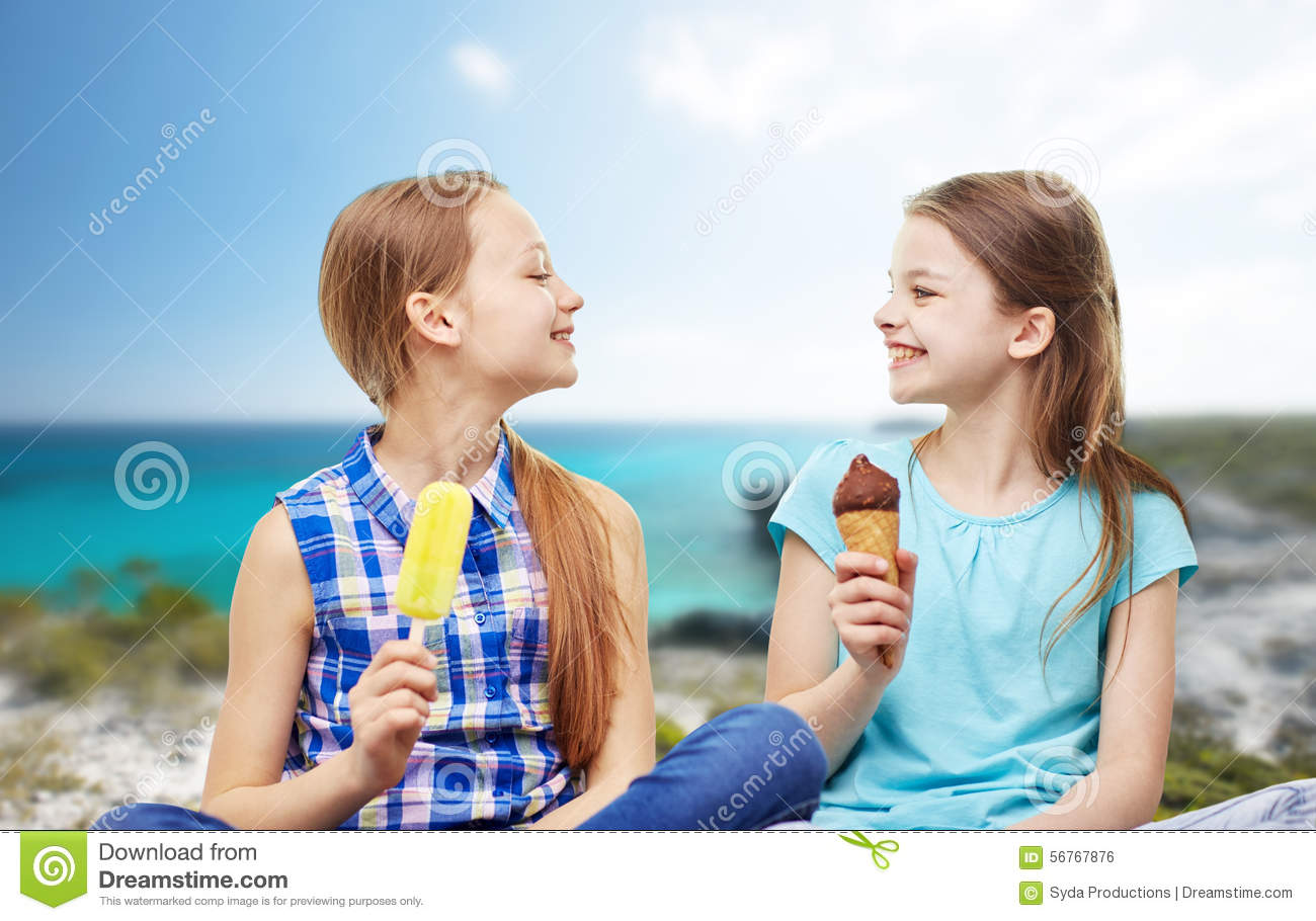 Woman Eating Ice Cream Talking About Kids