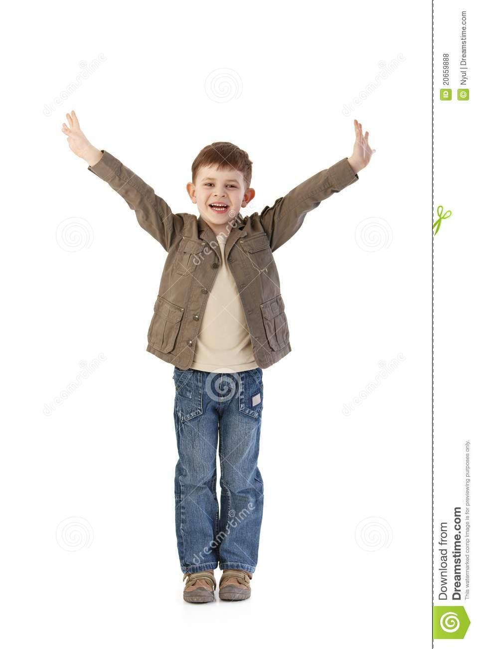 Happy Little Kid With Arms Wide Open Royalty Free Stock