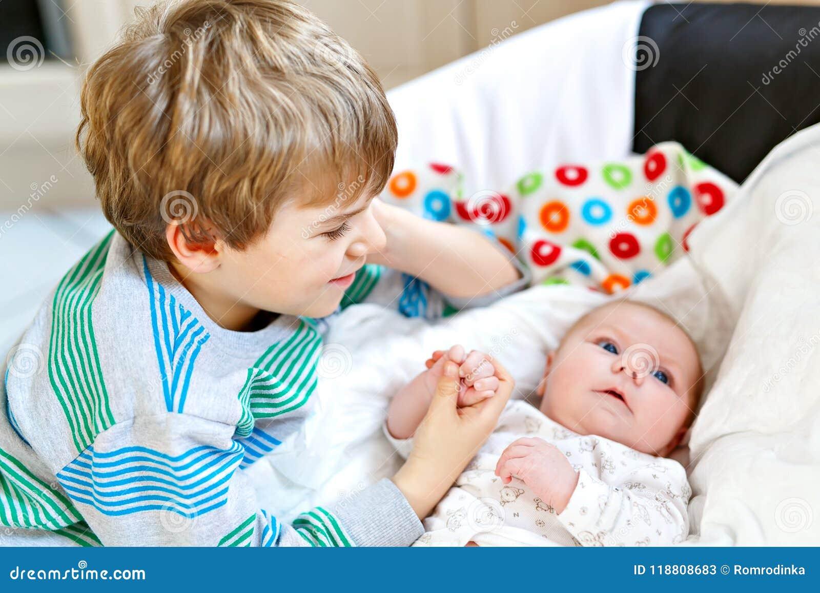 79cb5328e3223 Happy Little Kid Boy With Newborn Baby Sister Girl Stock Image ...
