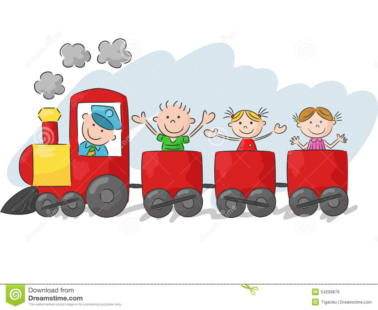 happy little kids cartoon on a colorful train stock vector