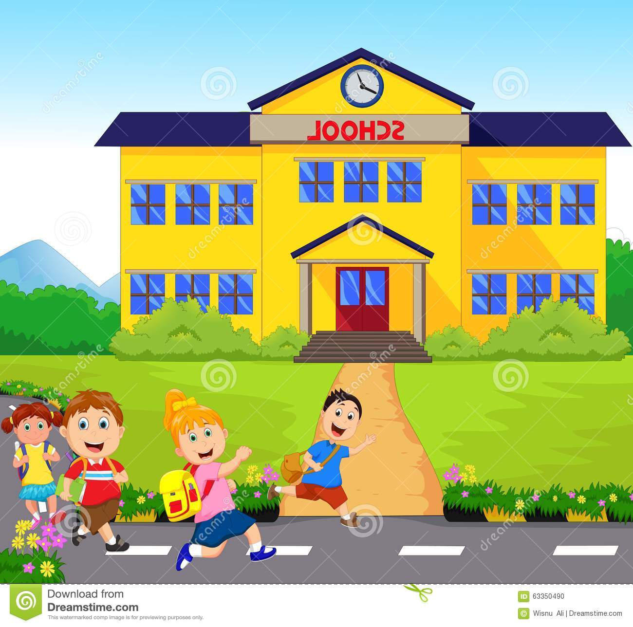 happy little kids going to school stock vector Reading Words Clip Art Reading Words Clip Art