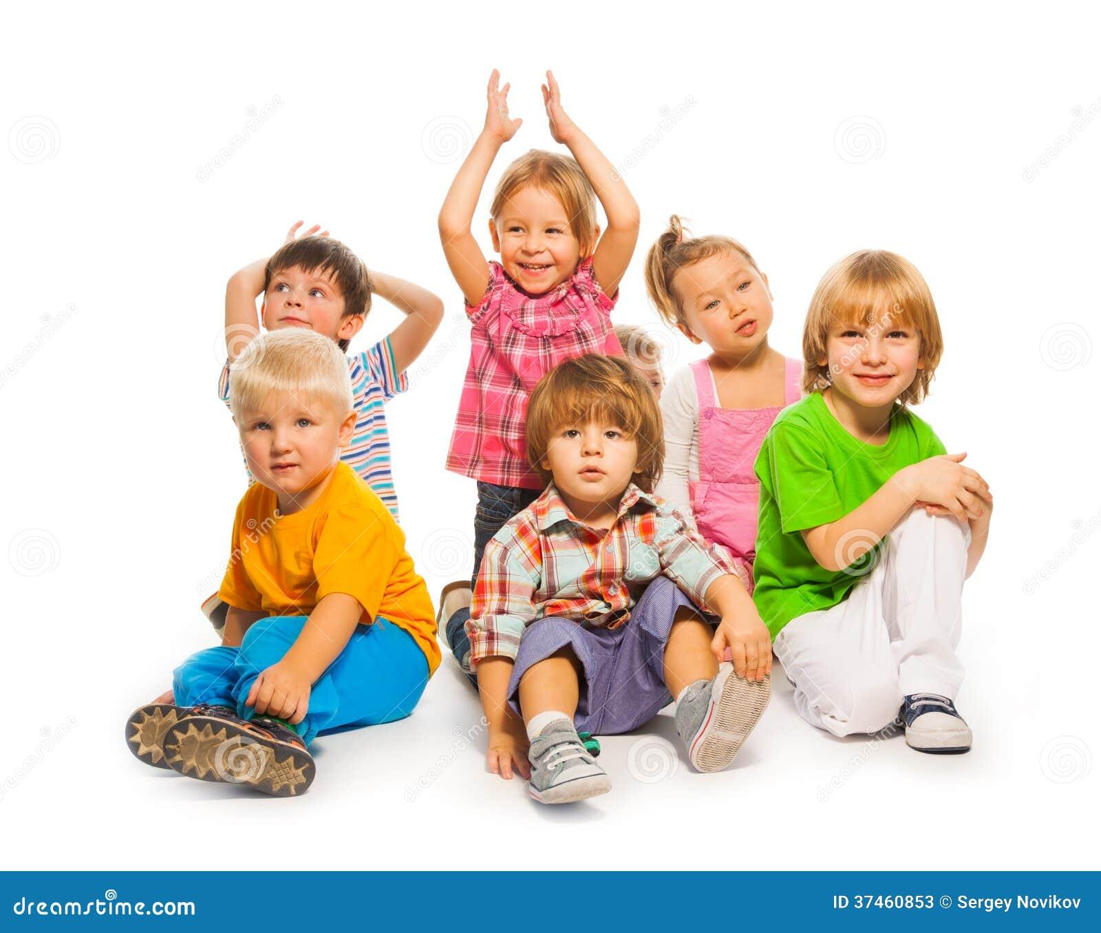 Happy little kids isolated stock image. Image of little - 37460853