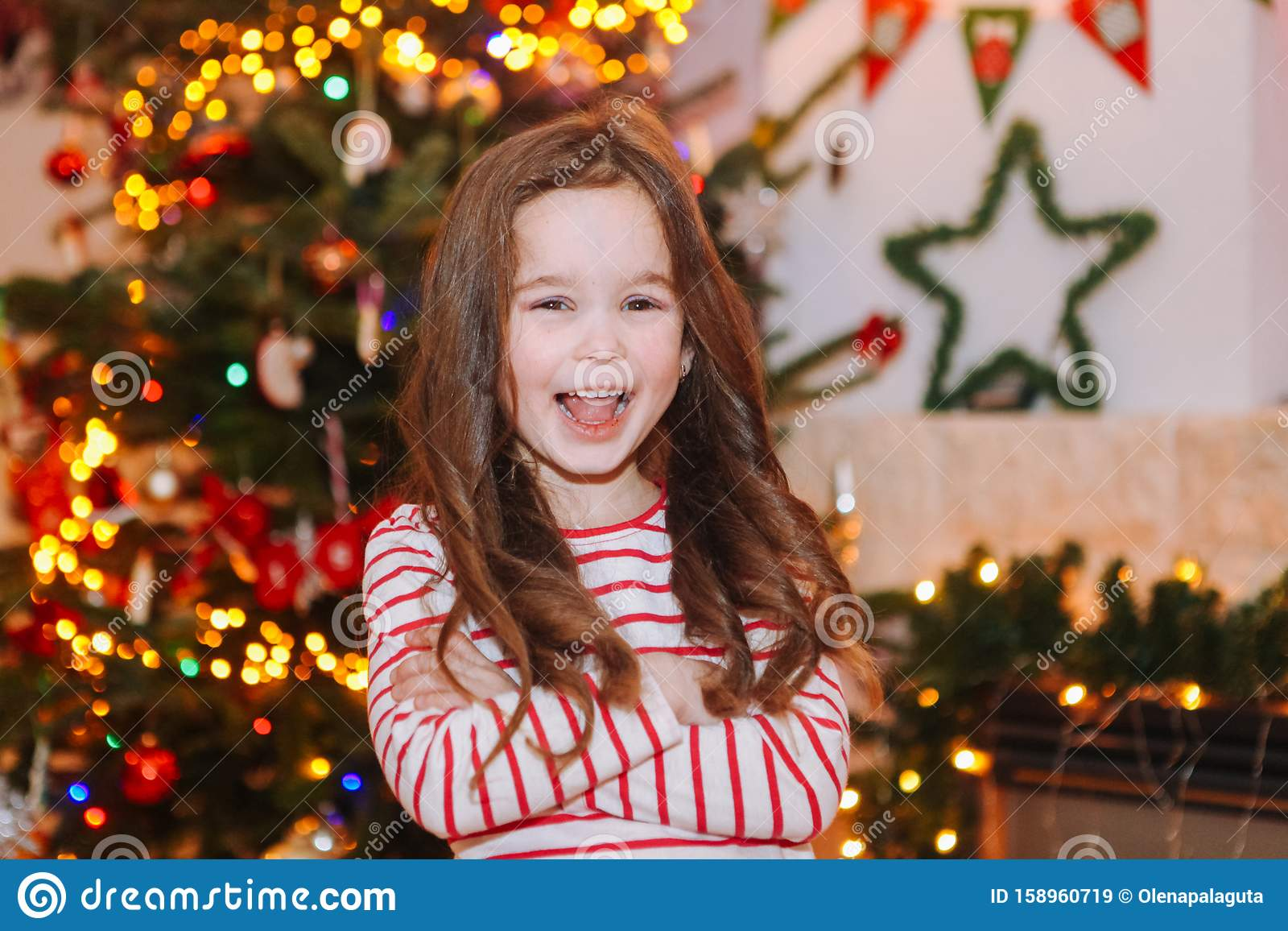 Happy Little Kids Under Christmas Tree At Home Stock Image Image Of Celebration December 158960719