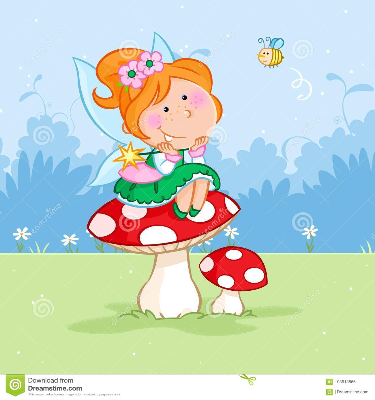 Happy little spring fairy sitting on the red mushroom and bee