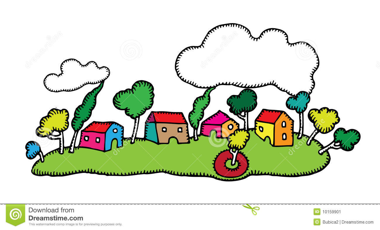 Character Design From The Ground Up Download : Happy little village landscape drawing stock vector