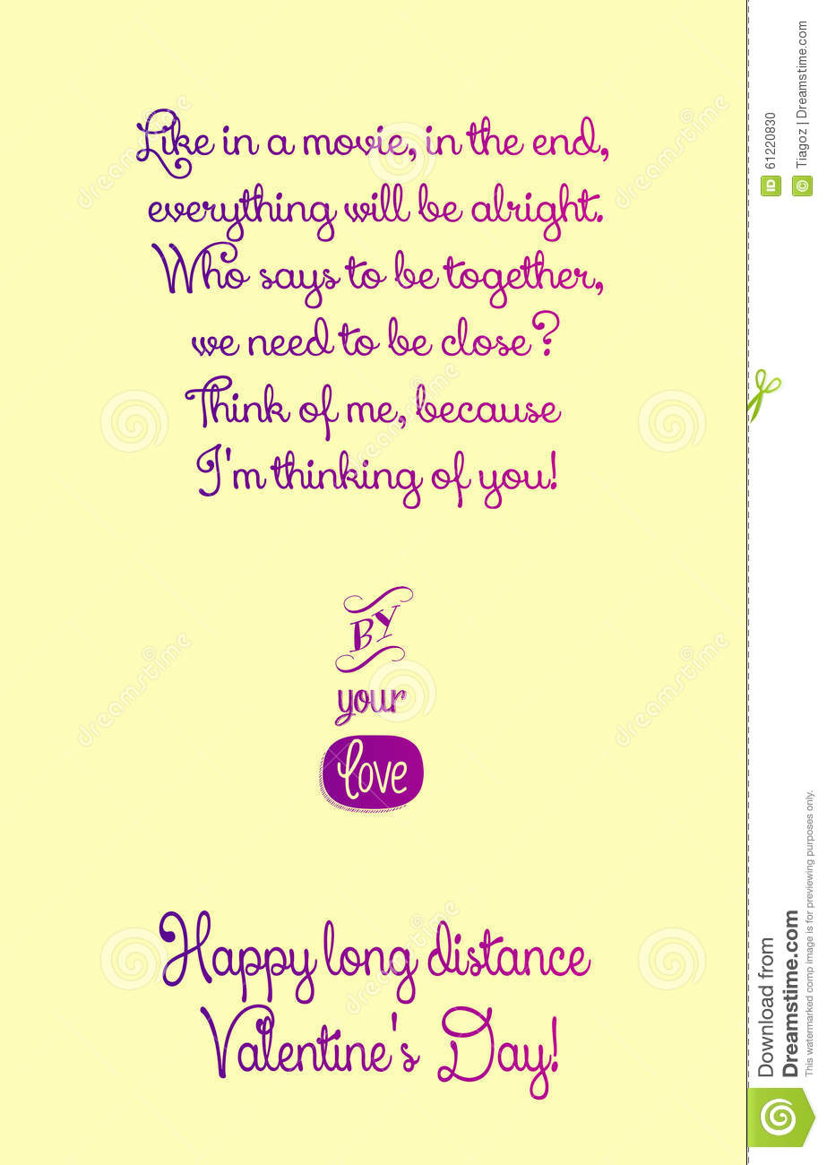 Happy Long Distance Valentines Day Card Illustration – Valentines Cards Words