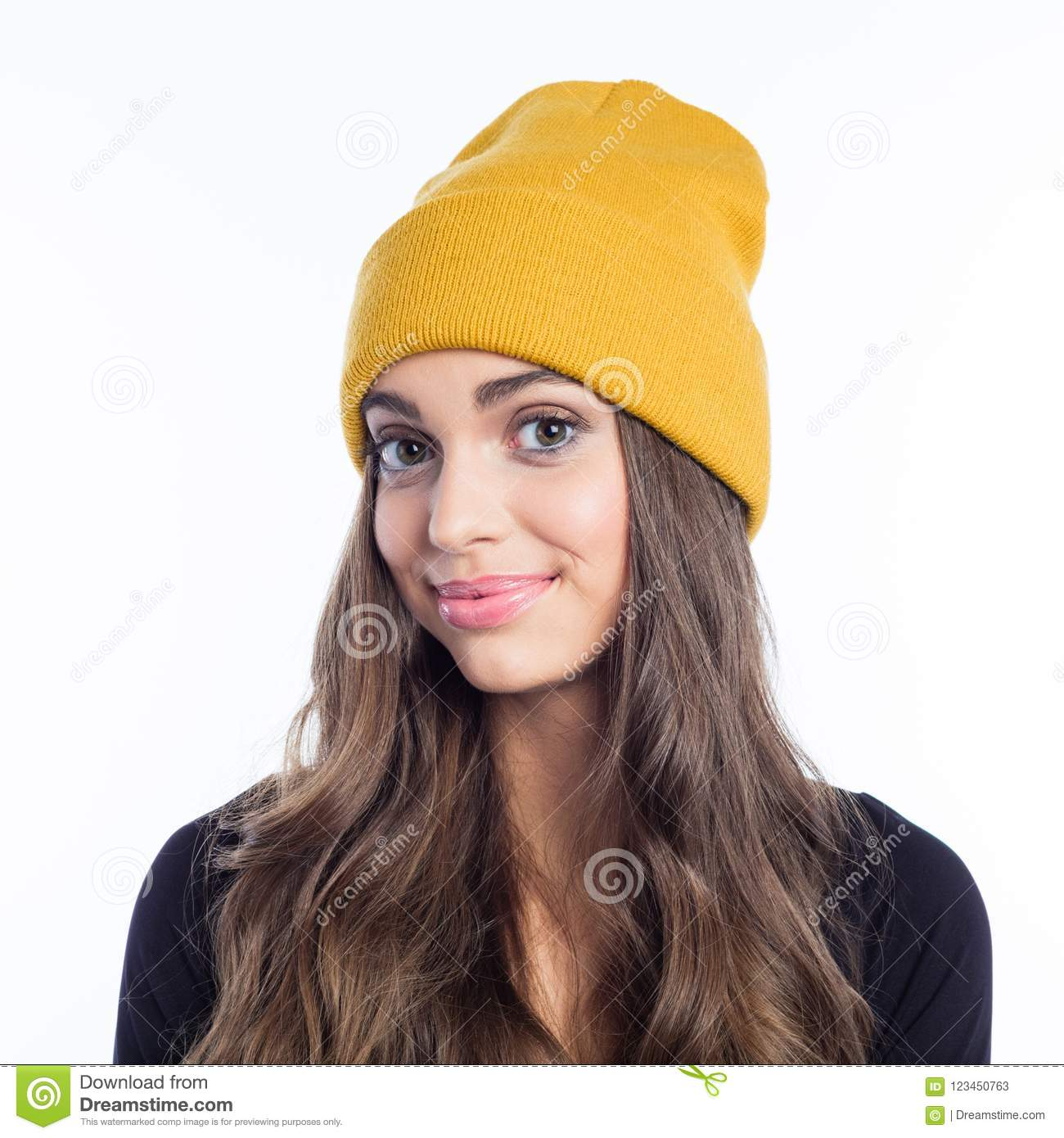 e3f50ed5857c8 Happy Long Hair Young Woman In Yellow Beanie Hat Stock Image - Image ...
