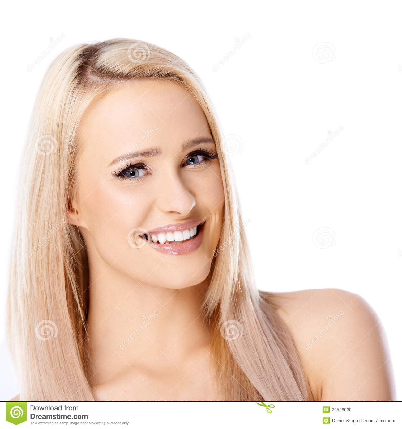 Happy long haired blond woman on white