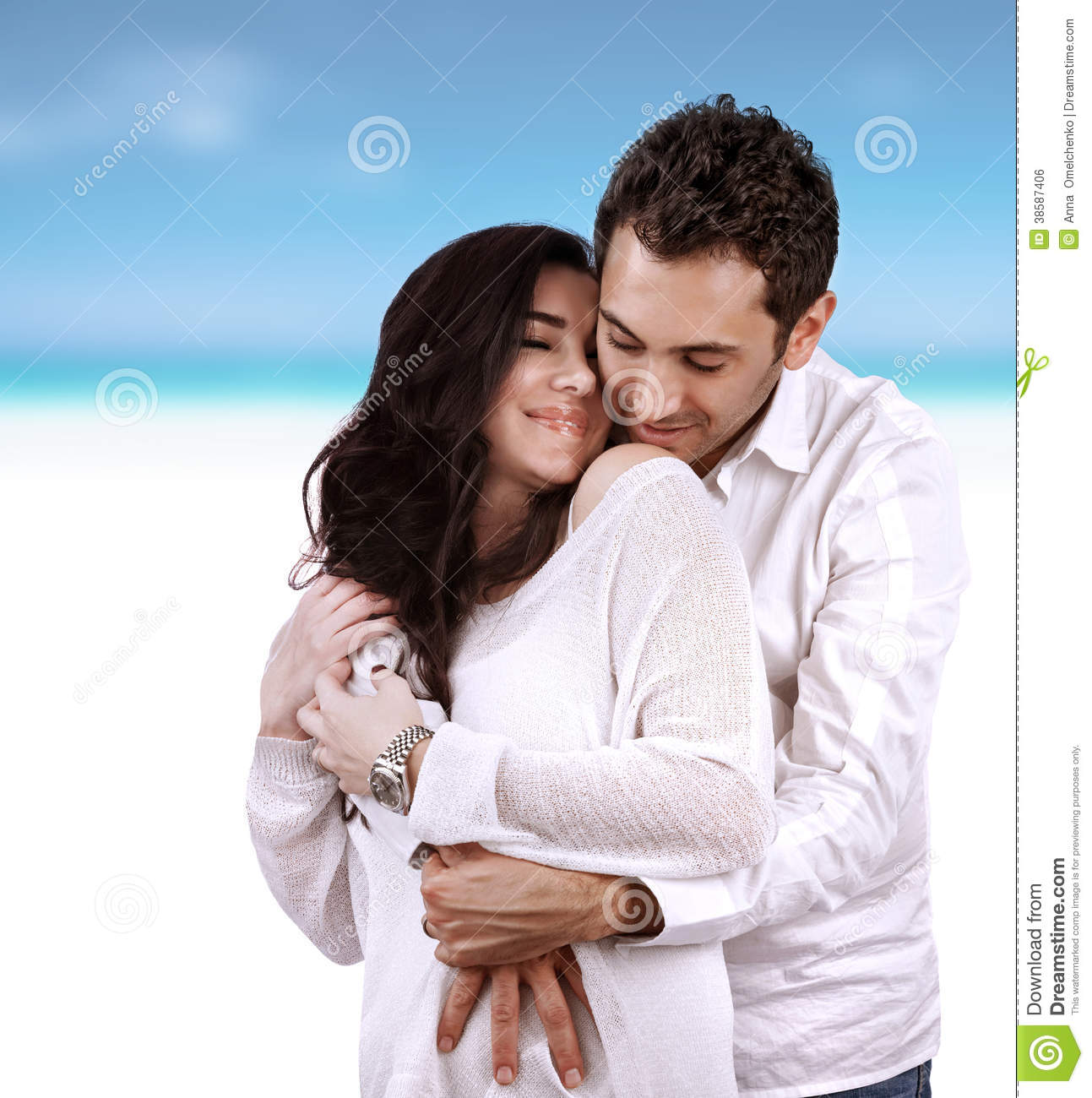 Family Enjoying Time Together On Beautiful Foggy Beach: Happy Lovers On Vacation Stock Photo. Image Of Beautiful