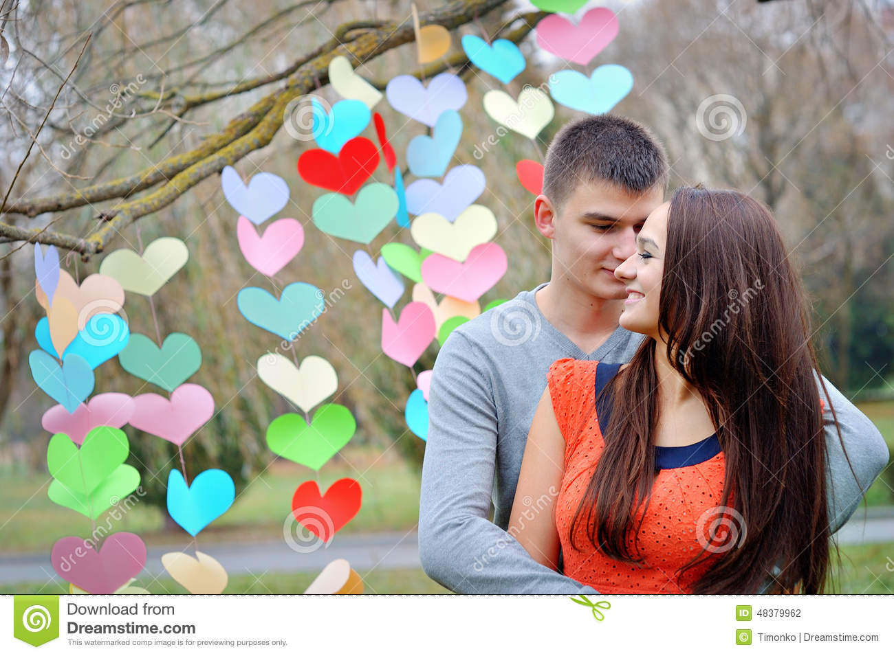 Happy Lovers On Valentine S Day Stock Photo Image Of Park